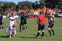 Action from the Wellington premier secondary schools football semifinal between Scots College and Wellington College at Scots College in Wellington, New Zealand on Saturday, 12 September 2020. Photo: Dave Lintott / lintottphoto.co.nz