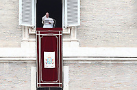 Pope Francis blesses the crowd as he recites the Angelus noon prayer from the window of his studio overlooking St.Peter's Square, at the Vatican, Sunday, March 14, 2021<br /> UPDATE IMAGES PRESS/Isabella Bonotto<br /> <br /> STRICTLY ONLY FOR EDITORIAL USE