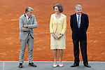 Spanish tennis legend Manolo Santana, Queen Sofia of Spain and the Mutua Madrilena's President Ignacio Garralda during Madrid Open Tennis 2015 Final match.May, 10, 2015.(ALTERPHOTOS/Acero)