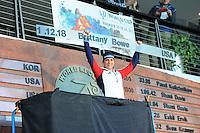 SPEED SKATING: SALT LAKE CITY: 22-11-2015, Utah Olympic Oval, ISU World Cup, 1000m Ladies, Brittany Bowe (USA), World Record: 1.12,18, ©foto Martin de Jong