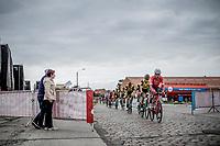 Eugenio Alafaci (ITA/Trek Segafredo) in front of the peloton riding the cobbles.<br /> <br /> 103th Kampioenschap van Vlaanderen 2018 (UCI 1.1)<br /> Koolskamp – Koolskamp (186km)