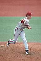 Arkansas Razorbacks relief pitcher Jacob Kostyshock (35) delivers a pitch to the plate against the Charlotte 49ers at Hayes Stadium on March 21, 2018 in Charlotte, North Carolina.  The 49ers defeated the Razorbacks 6-3.  (Brian Westerholt/Four Seam Images)