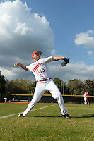 Ball State Cardinals outfielder Brandon Estep (15) warms up before a game against the Maine Black Bears on March 3, 2015 at North Charlotte Regional Park in Port Charlotte, Florida.  Ball State defeated Maine 8-7.  (Mike Janes/Four Seam Images)