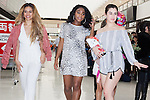 (L to R) Dina-Jane Hansen, Normani Hamilton and Lauren Jauregui, members of the American five-piece girl group Fifth Harmony, arrive at Narita International Airport on July 7, 2016, Chiba, Japan. Fifth Harmony are in Japan for the first time to promote their new song Work from Home. Fifth Harmony flew 25 hours from Sau Paulo to Japan after finishing their tour of South America. (Photo by Rodrigo Reyes Marin/AFLO)