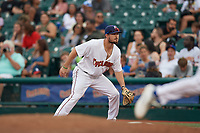 Brooklyn Cyclones first baseman Joe Genord (9) during a NY-Penn League game against the Tri-City ValleyCats on August 17, 2019 at MCU Park in Brooklyn, New York.  Brooklyn defeated Tri-City 2-1.  (Mike Janes/Four Seam Images)