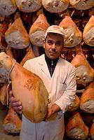 Langhirano,Parma, è conosciuta a livello mondiale per la produzione del Prosciutto di Parma. Tra le più note è la ditta Galloni . ..Nella fabbrica Galloni parecchi lavoratori stranieri .Langhirano, Italy, near Parma, is the main center of production of the famous Prosciutto di Parma, Parma ham. The Galloni factory is one of the most important, in 50 years of activity..<br /> <br /> <br /> <br /> Parma ham, Prosciutto di Parma, Galloni, factory, Langhirano, Italia, cibo,alimenti, produzione alimentare, food, maiale, pork, made in Italy, lavoro, immigrato, work, extracomunitario, no Eu worker, sugnatore, immigrazione, immigrant,