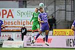 25.09.2020, Stadion an der Bremer Brücke, Osnabrück, GER, 2. FBL VfL Osnabrück vs. Hannover 96<br />   <br /> im Bild<br /> Niklas Hult (Hannover 96, 3) und Etienne Amenyido (VfL Osnabrück, 14) im Kopfballduell.<br /> <br /> DFL regulations prohibit any use of photographs as image sequences and/or quasi-video. <br /> <br /> Foto © nordphoto / Paetzel