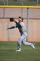Oakland Athletics Joe Bennie (10) during an instructional league game against the Los Angeles Angels on October 9, 2015 at the Tempe Diablo Stadium Complex in Tempe, Arizona.  (Mike Janes/Four Seam Images)