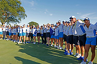 6th September 2021: Toledo, Ohio, USA;  Team Europe lines the 18th fairway to celebrate winning the Solheim Cup after the last singles match ends of the Solheim Cup on September 6, 2021 at Inverness Club in Toledo, Ohio.