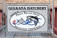 Gulkana Hatchery entrance, Prince William Sound Aquaculture Corporation, Interior, Alaska.
