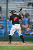 Nate Nolan (18) of the Great Falls Voyagers at bat against the Helena Brewers at Centene Stadium on August 19, 2017 in Helena, Montana.  The Voyagers defeated the Brewers 8-7.  (Brian Westerholt/Four Seam Images)