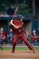 Macon Bacon Trevor Austin (43) bats during a Coastal Plain League game against the Savannah Bananas on July 15, 2020 at Grayson Stadium in Savannah, Georgia.  (Mike Janes/Four Seam Images)