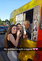 BNPS.co.uk (01202) 558833<br /> Pic: Jemma Lennie/BNPS<br /> <br /> Pictured: John with his granddaughters, Rhianna (left) and Abbigail<br /> <br /> A much-loved ice cream seller was given a fitting send off by colleagues who followed his funeral cortege in a convoy of 10 ice cream vans. <br /> <br /> John Lennie spent over 40 years selling ice creams from his trusty van in his local community.<br /> <br /> So dedicated was he to his job that he was still doing his rounds just two days before he died at the age of 79.<br /> <br /> His daughter, Jemma Lennie, led the procession in her father's old colourful truck at his funeral in Wimborne, Dorset.