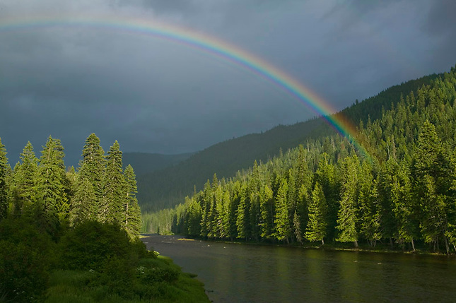 Rainbow over Lochsa River Bitterroot Mountains at Lolo Pass.