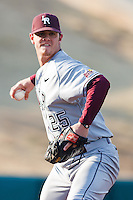 Nick Grimmett (25) turns and throws to first during the NCAA matchup between the University of Arkansas-Little Rock Trojans and the University of Oklahoma Sooners at L. Dale Mitchell Park in Norman, Oklahoma; March 11th, 2011.  Oklahoma won 11-3.  Photo by William Purnell/Four Seam Images