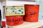Shop und Cafe Retrolykke, 08/2014<br /> <br /> Engl.: Europe, Scandinavia, Norway, Oslo, Gruenerløkka, shop and cafe Retrolykke, gastronomy, interior view, boxes, August 2014