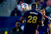 CARSON, CA - JUNE 19: Yeimar Gomez Andrade #28 of the Seattle Sounders FC heads a ball during a game between Seattle Sounders FC and Los Angeles Galaxy at Dignity Health Sports Park on June 19, 2021 in Carson, California.