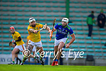 Michael Burke, Meath in action against Jason Diggins, Kerry, during the Round 1 meeting of Kerry and Meath in the Joe McDonagh Cup at Austin Stack Park in Tralee on Sunday.