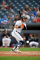 Akron RubberDucks Alexis Pantoja (1) at bat during an Eastern League game against the Reading Fightin Phils on June 4, 2019 at Canal Park in Akron, Ohio.  Akron defeated Reading 8-5.  (Mike Janes/Four Seam Images)