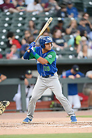 Right fielder Jose Caraballo (18) of the Lexington Legends bats in a game against Columbia Fireflies on Thursday, June 13, 2019, at Segra Park in Columbia, South Carolina. Lexington won, 10-5. (Tom Priddy/Four Seam Images)