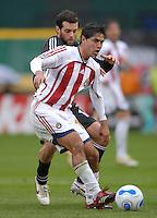 2006 MLS Regular Season Match at RFK Stadium,Chivas USA Defender Jonathan Bornstein defending the play against midfielder Ben Olsen, final score DC United 2  , Chivas USA  0 , Saturday, April 8.