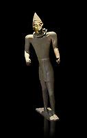 Hittite bronze figure with a mask, Hittite Period. Adana Archaeology Museum, Turkey. Against a black background