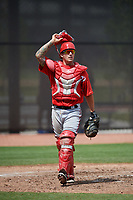 Washington Nationals catcher Matt Reistetter (51) during a minor league Spring Training game against the Houston Astros on March 28, 2017 at the FITTEAM Ballpark of the Palm Beaches in West Palm Beach, Florida.  (Mike Janes/Four Seam Images)
