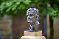 BNPS.co.uk (01202) 558833. <br /> Pic: CorinMesser/BNPS<br /> <br /> <br /> A magnificent bronze bust of Enigma codebreaker Alan Turing has today gone on display at his former school.<br /> <br /> The bust, which is just over life size, stands on a plinth at Sherborne School in Dorset, where the genius mathematician and father of computer science was a pupil from 1926 to 1931.<br /> <br /> It was unveiled by Turing's nephew and fellow Sherborne School alumni, author Sir John Dermot Turing.<br /> <br /> During the Second World War Turing worked for the Government Code and Cypher School (GC&CS) at Bletchley Park, Bucks, Britain's code-breaking centre. He played a pivotal role in cracking the German Enigma code that enabled the Allies to defeat the Nazis in many crucial battles.<br /> <br /> The bust has been fashioned by acclaimed sculptor David Williams-Ellis, who has previously commemorated the D-Day landings in sculpture for the Normandy Memorial Trust.