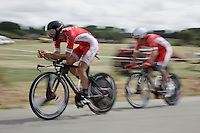 Geoffrey Soupe (FRA/Cofidis) in tandem to the finish to make the time-cut<br /> <br /> stage 9: TTT Vannes - Plumelec (28km)<br /> 2015 Tour de France