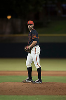 AZL Giants Black relief pitcher Garrett Christman (84) prepares to deliver a pitch during an Arizona League game against the AZL Royals at Scottsdale Stadium on August 7, 2018 in Scottsdale, Arizona. The AZL Giants Black defeated the AZL Royals by a score of 2-1. (Zachary Lucy/Four Seam Images)
