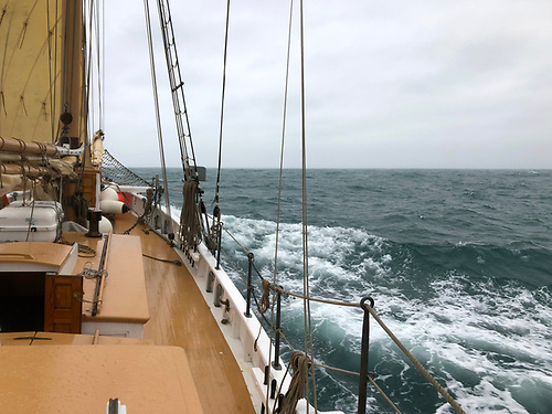 The weather may be closing in again, but with a favourable though cold nor'easter, Ilen is already nearing Kinsale less than eight hours from Hook Head.   Photo: Gary Mac Mahon