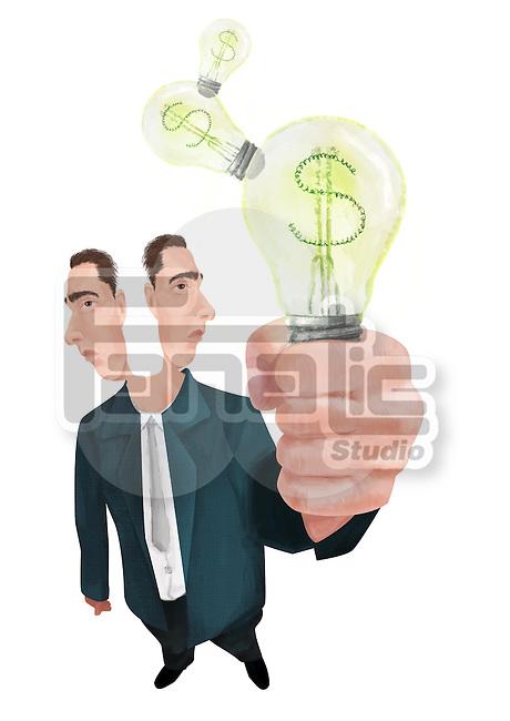 Illustrative image of joint businessmen holding light bulb representing partnership and idea