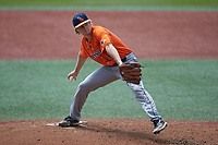 UTSA Roadrunners starting pitcher Pepper Jones (12) in action against the Charlotte 49ers at Hayes Stadium on April 18, 2021 in Charlotte, North Carolina. (Brian Westerholt/Four Seam Images)