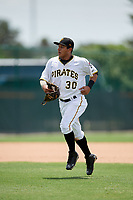 GCL Pirates left fielder Fernando Villegas (30) jogs back to the dugout during a game against the GCL Tigers West on August 13, 2018 at Pirate City Complex in Bradenton, Florida.  GCL Tigers West defeated GCL Pirates 5-1.  (Mike Janes/Four Seam Images)