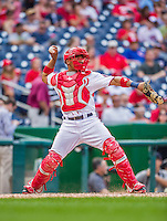 20 September 2015: Washington Nationals catcher Pedro Severino, making his Major League debut with an inning behind the plate, also hit a pinch-hit double in his first plate appearance during a game against the Miami Marlins at Nationals Park in Washington, DC. The Nationals defeated the Marlins 13-3 to take the final game of their 4-game series. Mandatory Credit: Ed Wolfstein Photo *** RAW (NEF) Image File Available ***