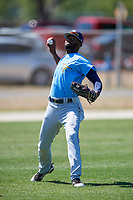 Tampa Bay Rays Bryce Brown (65) warms up before a Minor League Spring Training game against the Minnesota Twins on March 17, 2018 at CenturyLink Sports Complex in Fort Myers, Florida.  (Mike Janes/Four Seam Images)