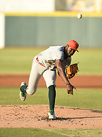 Greensboro Grasshoppers starting pitcher Tahnaj Thomas (17) during a game against the Hickory Crawdads on May 19, 2021 at L.P. Frans Stadium in Hickory, North Carolina. (Tracy Proffitt/Four Seam Images)