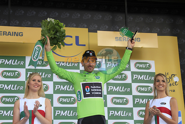 Fabian Cancellara (SUI) finishes 2nd and retains the points Green Jersey at the end of Stage 1 of the 99th edition of the Tour de France, running 198km from Liege to Seraing, Belgium. 1st July 2012.<br /> (Photo by Eoin Clarke/NEWSFILE)