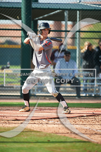 Patrick Baggett (1) of Union County High School in Blairsville, Georgia during the Under Armour All-American Pre-Season Tournament presented by Baseball Factory on January 14, 2017 at Sloan Park in Mesa, Arizona.  (Art Foxall/Mike Janes Photography)