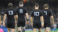 (L-R) Conrad Smith, Kieran Read, Dan Carter and Richie McCaw of New Zealand during Match 23 of the Rugby World Cup 2015 between New Zealand and Georgia - 02/10/2015 - Millennium Stadium, Cardiff<br /> Mandatory Credit: Rob Munro/Stewart Communications