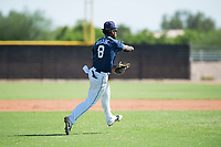 San Diego Padres third baseman Olivier Basabe (8) throws to first base during an Instructional League game against the Milwaukee Brewers at Peoria Sports Complex on September 21, 2018 in Peoria, Arizona. (Zachary Lucy/Four Seam Images)