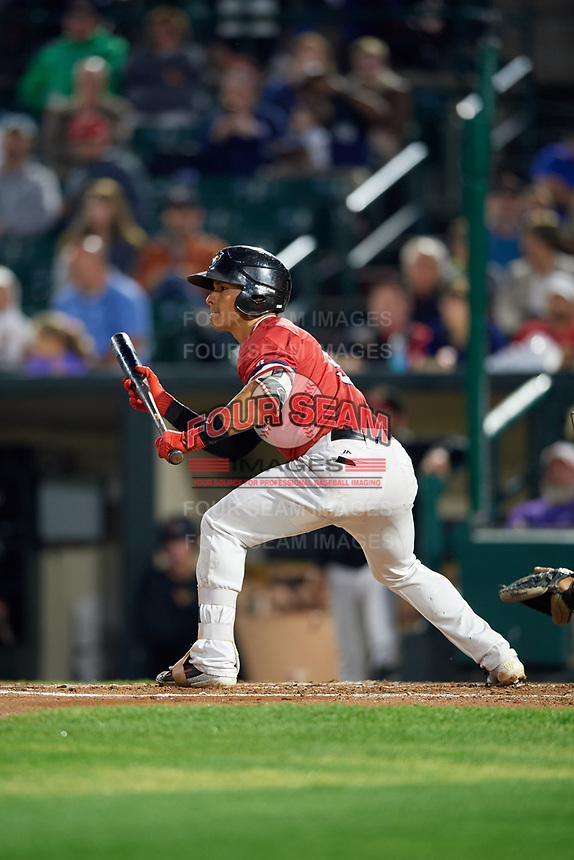 Rochester Red Wings shortstop Tommy Field (9) squares to bunt during the first game of a doubleheader against the Scranton/Wilkes-Barre RailRiders on August 23, 2017 at Frontier Field in Rochester, New York.  Rochester defeated Scranton 5-4 in a game that was originally started on August 22nd but postponed due to inclement weather.  (Mike Janes/Four Seam Images)