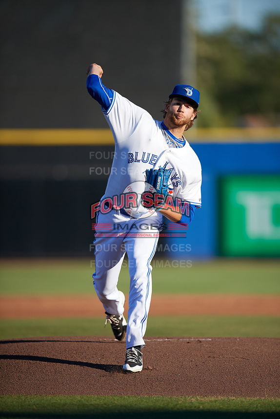 Dunedin Blue Jays starting pitcher T.J. Zeuch (35) delivers a warmup pitch during a game against the Clearwater Threshers on April 8, 2017 at Florida Auto Exchange Stadium in Dunedin, Florida.  Dunedin defeated Clearwater 12-6.  (Mike Janes/Four Seam Images)