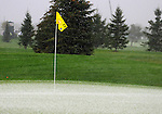 3 October 2008: Hails coats the thirteenth greed at the Turning Stone Golf Championship in Verona, New York during the hail, rain and lightning delayed second round.