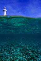 Amedee Lighthouse Island seen from underwater, Noumea Lagoon, New Caledonia.