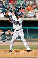 """Charleston Riverdogs outfielder Leonardo Molina (20) at bat during a game against the Hickory Crawdads at the Joseph P. Riley Ballpark in Charleston, South Carolina. For Sunday games, the Riverdogs wear their """"Holy City"""" uniforms in honor of the city's nickname. Hickory defeated Charleston 8-7. (Robert Gurganus/Four Seam Images)"""