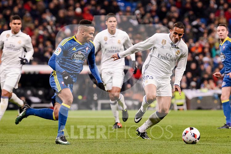 Real Madrid's Danilo Luiz Da Silva and Celta de Vigo's Theo Bongonda during Copa del Rey match between Real Madrid and Celta de Vigo at Santiago Bernabeu Stadium in Madrid, Spain. January 18, 2017. (ALTERPHOTOS/BorjaB.Hojas)