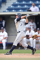 Parker Starr #7 of the BYU Cougars bats against the Pepperdine Waves at Eddy D. Field Stadium on April 10, 2014 in Malibu, California. BYU defeated Pepperdine, 1-0. (Larry Goren/Four Seam Images)