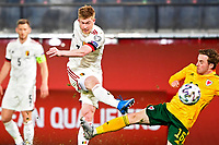 24th March 2021; Leuven, Belgium;  Kevin De Bruyne of Belgium scores a goal during the World Cup Qatar 2022 Qualifiers Match between Belgium and Wales on March 24, 2021 in Leuven, Belgium