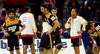 Spanish handball players after loosing  men`s EHF EURO 2012 championship semifinal handball game against Denmark in Belgrade, Serbia, Friday, January 27, 2011.  (photo: Pedja Milosavljevic / thepedja@gmail.com / +381641260959)  Garcia Juan Antonio